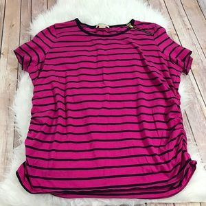 Michael Kors Striped Ruched Plus Size Tee 3X